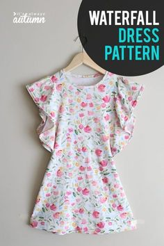 Cute girls dress sewing pattern! How to sew a girls dress with ruffled waterfall sleeves.