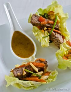 Bite Sized Appetizers: Steak Salad Lettuce Wraps - low carb if you use Nature's Hollow Sugar Free Honey Substitute instead of honey