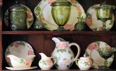 Green glassware mixed with Franciscan Desert Rose china. Dish Display, China Display, Shelf Display, Displaying China, Desert Rose Dishes, Franciscan Ware, Shabby Chic Theme, Wedding China, Imperial Glass