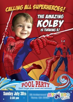 Invitation c hans paolo 7th birthday for inquiries please email pool party spiderman birthday invitation with your boy as spiderman sample amazing spiderman invitation stopboris Gallery