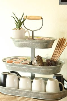 Galvanized three tiered serving tray is perfect for housing mugs and coffee cups for your home coffee bar.