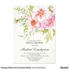 Vintage Watercolor Peonies Bridal Shower Invitatio Card