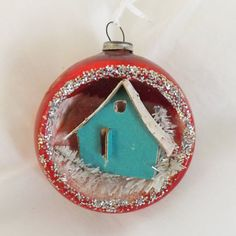 Vintage Christmas glass diorama ornament red with mini turquoise putz house and glitter by thevintageelf, $30.00