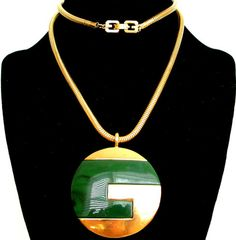 Vintage Givenchy Paris Modernist Lucite GG Logo Pendant Necklace 70'S Runway