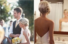 It might not work at the front (no height), but in terms of the back I like the simple plait and gathered with a flower
