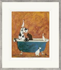 Fun & quirky signed limited edition artwork from artist Sam Toft, Big Dog Bath includes many different dogs, perfect bathroom print with Free UK Delivery Bath Sign, Framed Prints, Art Prints, Whimsical Art, Limited Edition Prints, Big Dogs, Dog Art, Illustration Art, Artwork