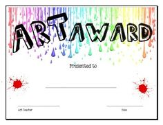 Art Award printable with fill in the blanks