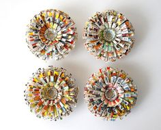 Vintage Paper Flower Magnets made from an antique children's encyclopedia. $24.95