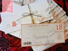 Red and White Modern Chinese Boarding Pass Wedding Card
