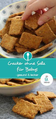 Rezept für Babybcracker ohne Salz. Die pikanten Babykekse sind für Babys ab dem 9. Monat geeignet.