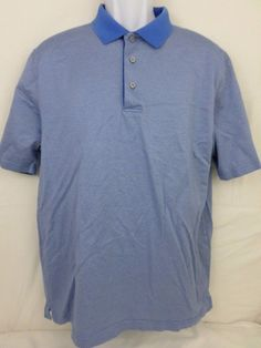 Jos A Bank Leadbetter Golf Large 100% Cotton Blue Triangle Polo S/S Geometric #JosABank #PoloRugby