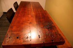 Getting West End Salvage's help on building a rustic table