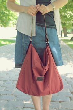 Baumwolle & Leder Tasche, fuchsrot // canvas, leather bag, chestnut by BAGS BY MAY via DaWanda.com