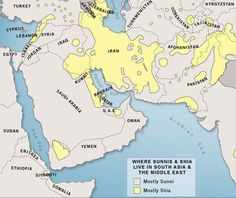 Historical causation & understanding - Maps - Sunni and Shia populations in Middle East and Asia