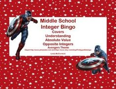 Looking for an engaging way to review? This Bingo Game with a fun Avengers theme is just what you need.This game provides a great review on understanding, absolute value, and opposite integers.Contents40 Bingo Cards50 Calling Cards 10 Blank Bingo CardsSheet of 16 Blank Calling CardsYou can run the cards off on cardstock, cut to size, and laminate them for a permanent game solution.