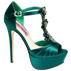 Betsey Johnson Elizabth Shoe ($89) ❤ liked on Polyvore featuring shoes, pumps, teal satin, platform stiletto pumps, peep toe platform pumps, high heels stilettos, teal pumps and t strap platform pumps