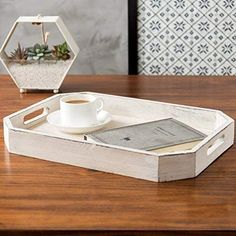 Rustic Whitewashed Wood Serving Tray with Cutout Handles and Angled Edges Rustic Serving Trays, Serving Trays With Handles, Cubicle Makeover, Ottoman Tray, Whitewash Wood, Vanity Tray, Wood Tray, Breakfast In Bed, Tray Decor