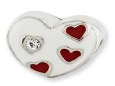 Kids Custom Sterling Silver Swarovski Crystal Heart Charm Bead (Online at Gemologica.com)