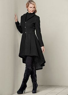 HIGH LOW PLEATED COAT, SEAMLESS MOCK NECK TOP, SLIMMING STRETCH JEGGINGS, TIE BACK BOOT