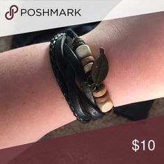 Leather bracelet Breaded and beaded leather bracelet. It is a SINGLE bracelet with multiple strands. Jewelry Bracelets