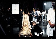 Stargate at the Spruce Goose dome.    That's me in the plaid shirt as we get Jaye Davidson ready for the next shot.  #josephporrodesigns