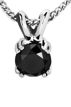 Bijoux Majesty 0.20 ct Black Diamond Double-Prong Pendant In 14k White Gold