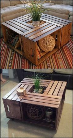 Do you want a rustic coffee table in your living room? Why not DIY this beautiful crate coffee table! Making your own crate coffee table is a DIY project you can do in just one afternoon. Learn how to build one from this step-by-step tutorial: decor Diy Home Decor Rustic, Rustic Apartment Decor, Diy Projects Rustic, Home Crafts Diy Decoration, Pallet Projects, Rustic Salon Decor, Diy Crafts, Rustic Outdoor Decor, Rustic Vintage Decor