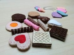 Play food tiny felt cookies and tea bags for dolls by DusiCrafts
