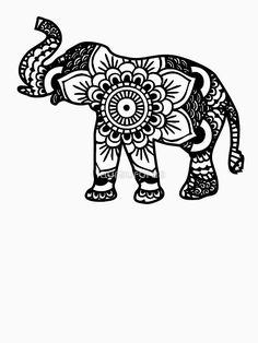 'Mandala Elephant Black' T-Shirt von laurauroraa – cricut - Malvorlagen Mandala