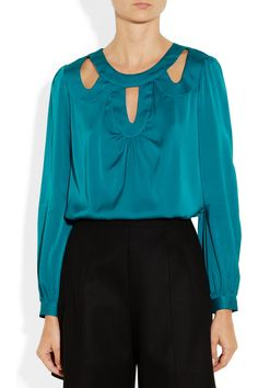 Milly | Lena cutout stretch-silk blouse