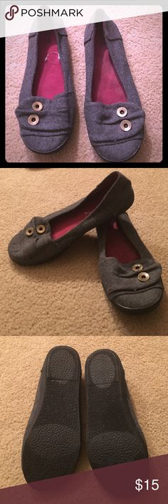 Gray Mossimo Slips On Shoes Wool/cotton material. Has button treatment. Great Condition. Smoke free home. Mossimo Supply Co. Shoes Flats & Loafers
