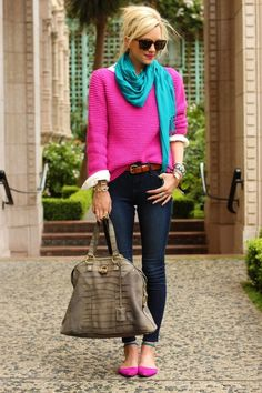 Fuschia sweater/shoes + turquoise scarf + skinnies
