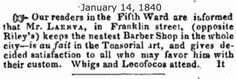 """1840.1.14.  Barber: """"WHIGS & LOCOFOCOS ATTENDED."""""""