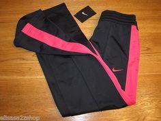Nike girls active pants Training S 477232 011 Black pink stripe NWT*^