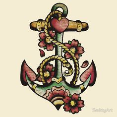 """""""Traditional Anchor Tattoo Design"""" T-Shirts & Hoodies by SmittyArt 