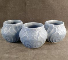 Nice accent piece! Old, Three Section, Art Pottery Planter - Blue Glaze