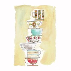 Pile of Teacups by August Wren