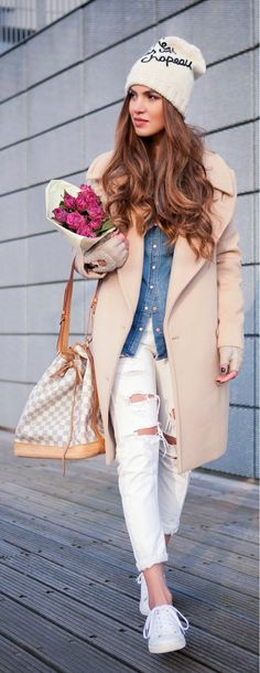 Layering | Oversized Coat , Denim shirt with Ripped Jeans and White Sneakers