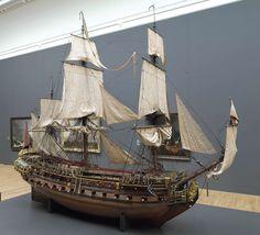Scheepsmodel William Rex, Een oorlogsschip aan het einde van de 17e eeuw. Een goed voorbeeld van de profiterende nijverheid door de handel: door de scheepvaart waren werven nodig om bijvoorbeeld kanonnen te maken zoals op dit schip. Pepijn en Lloyd