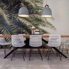 Tropical Modern Living Room Makeover with Behr Interior Paint Dining Room Inspiration, Interior Inspiration, Cafe Design, House Design, Sofa Lounge, Tropical Decor, Tropical Furniture, Tropical Colors, Modern Tropical
