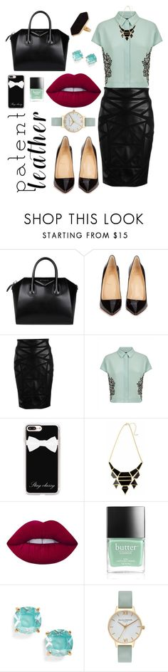 """""""Untitled #307"""" by shootingstar710 ❤ liked on Polyvore featuring Givenchy, Christian Louboutin, Versace, Jaeger, Casetify, Lime Crime, Butter London, Kate Spade and Olivia Burton"""