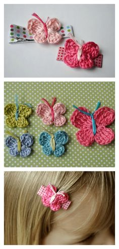 Little Butterfly Hair Clips Free Crochet Pattern