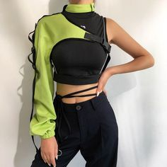 Cyborg Arm Jacket Neon Green - Product Details:- Polyester & Elastane Popper Neck Closure Clip Fastening Cross Strap Elasticated Cuffs One Size Source by - Stage Outfits, Edgy Outfits, Mode Outfits, Fashion Outfits, Girl Outfits, Fashion Clothes, Boho Fashion, Fashion Jewelry, Cyberpunk Fashion