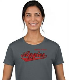 This Arbor View Aggies Script design stands out with red and black glitter on a charcoal gray tee.  #glitter #vinyl http://sparklytees.com/store/arborview