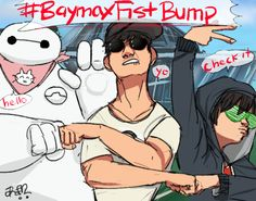 """idakichan:   #BaymaxFistBump!!! Aunt Cass made them switch Baymax's bandanna out with one of the cafe's wiping cloths.   Twitter is trying to trend #BaymaxFistBump. I couldn't help myself. Hehe. Is """"Fist Bump"""" in your fighting database?"""