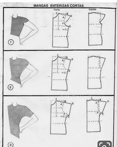 Different sleeve styles from standard pattern. Detailing quantum way, detailing quantum types of dresses, with detailed quantum Alpetronat Dress Sewing Patterns, Clothing Patterns, Sewing Hacks, Sewing Tutorials, Sewing Sleeves, Patron Vintage, Sewing Blouses, Sewing Jeans, Pattern Cutting