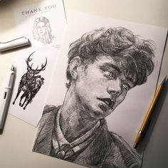 *edit - Sold out. Thanks for the amazing support everyone. Shipment will start from the next Mon! ✨New Print Available Now✨ Including Special Feature 'The Stag' Post Card. Edition of Once they sell out, they are gone. :) _ Hand Numbered and Signed Art Pencil Art Drawings, Art Drawings Sketches, Portrait Paintings, Portrait Art, Arte Sketchbook, Art Hoe, Pencil Portrait, Aesthetic Art, Art Inspo