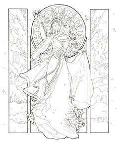 celtic woman coloring page | Plus de coloriages Hiver: Paysage d'hiver - Bonhommes de neige ...