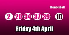 Here are the results for Friday 4th April 2014, sadly no jackpot winners or second tier prizes, #lottery: http://thunderballresults.org/thunderball-results-4th-april/