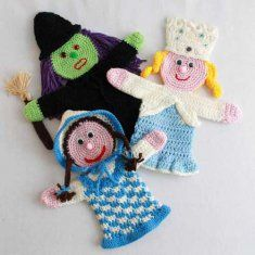 Storybook Puppets: Wizard of Oz Set 1 Pattern ~ intermediate level ~ tall depending on yarn used ~ CROCHET Crochet For Kids, Crochet Baby, Knit Crochet, Puppet Patterns, Sport Weight Yarn, Hand Puppets, Crochet Dolls, Crocheted Toys, Wizard Of Oz